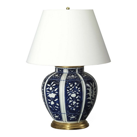 medeleine floral table lamp in blue and white table. Black Bedroom Furniture Sets. Home Design Ideas