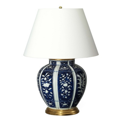 Medeleine Floral Table Lamp in Blue and White