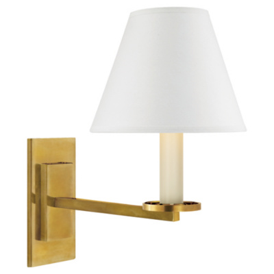 Railroad Sconce in Natural Brass with White Paper Shade