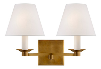 Evans Double Arm Sconce - Natural Brass