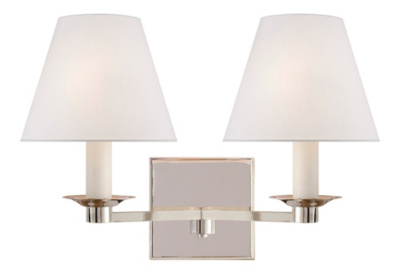 Evans Double Arm Sconce - Polished Nickel