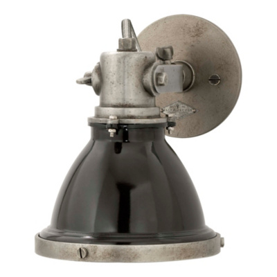 Fulton Small Sconce in Industrial Steel with Black Shade - Wall Lamps / Sconces - Lighting ...