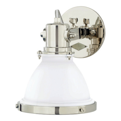 Fulton Small Sconce in Polished Nickel with White Enamel Shade