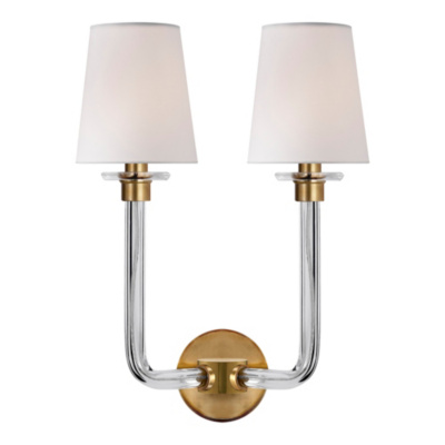 Parker Double Sconce in Natural Brass