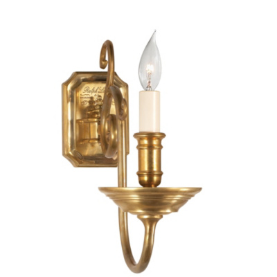 Lillianne Single Sconce in Natural Brass