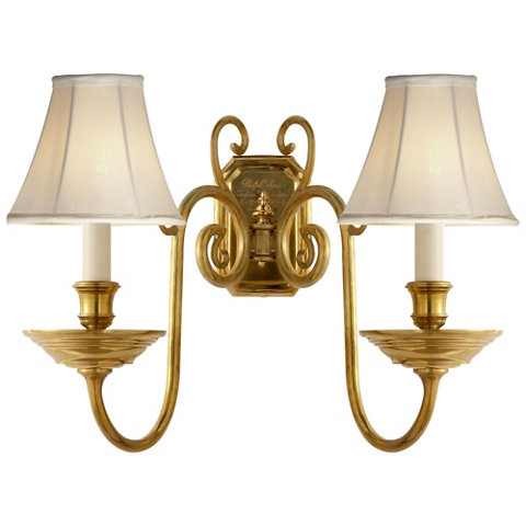 lillianne double sconce in natural brass - Double Sconce Bathroom Lighting