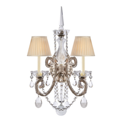 Adrianna Double Sconce in Antique Silverleaf