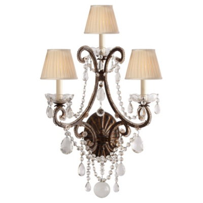 Adrianna Triple Sconce in Antique Gild with Antiqued Crystals