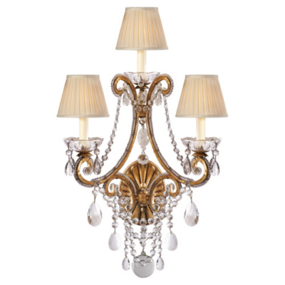 Adrianna Triple Sconce in Gilded Iron with Antiqued Crystals and Silk Shade