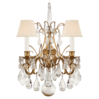Antoinette Small Chandelier in Natural Brass and Crystal