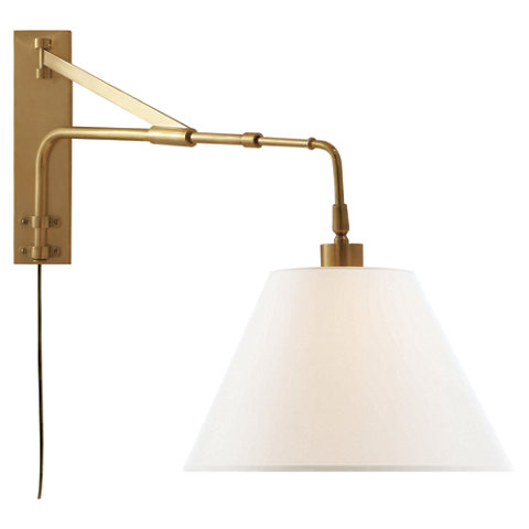 brompton extension swing arm in natural brass with linen shade wall lamps sconces lighting products ralph lauren home ralphlaurenhomecom brass swing arm wall