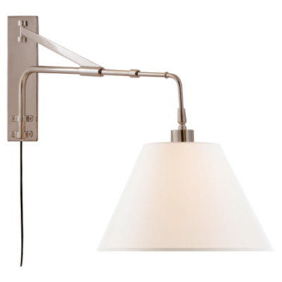 Brompton Extension Swing Arm in Polished Nickel with Linen Shade