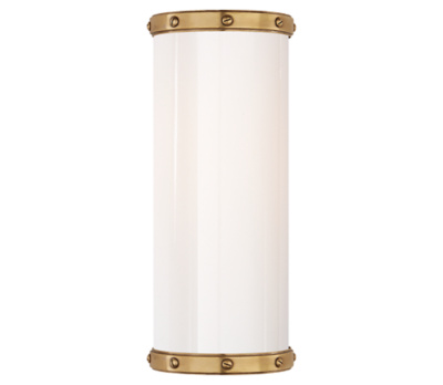 Bleeker Single Bath Sconce in Natural Brass with White Glass