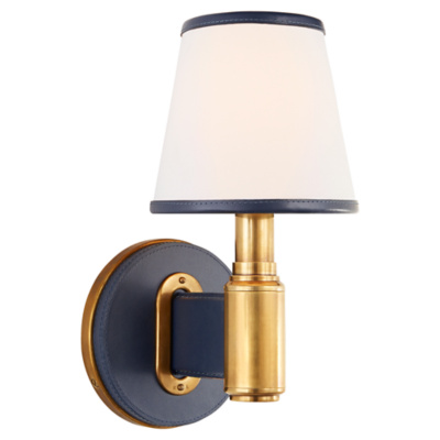 Riley Single Sconce in Natural Brass and Navy Leather with Leather Trimmed