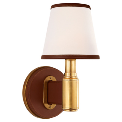 Riley Single Sconce in Natural Brass and Saddle Leather with Leather Trimme