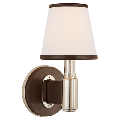 Riley Single Sconce in Polished Nickel and Chocolate Leather with Leather T