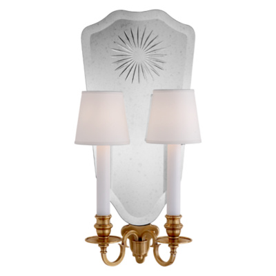 Clarissa Double Sconce in Natural Brass
