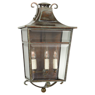 Carrington Small Sconce in Weathered Verdigris with Clear Glass