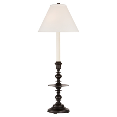Laurel Candelstick Table Lamp in Aged Iron with Linen Shade