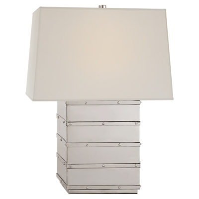 Bleeker Bedside Lamp in Polished Nickel with Percale Shade