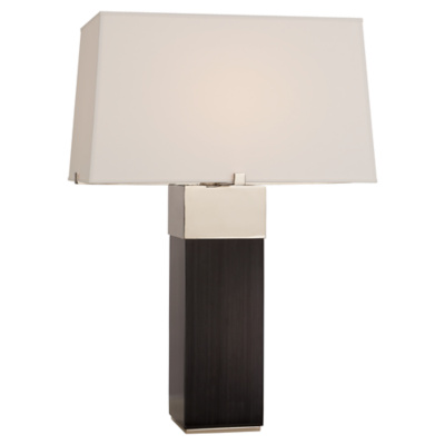 Hardy Table Lamp in Black Ebony and Polished Nickel with Percale Shade