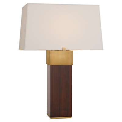 Hardy Table Lamp in Macassar Ebony and Natural Brass with Percale Shade