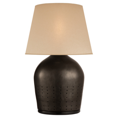Halifax Small Table Lamp in Black Ceramic with Faux Drum Skin Shade