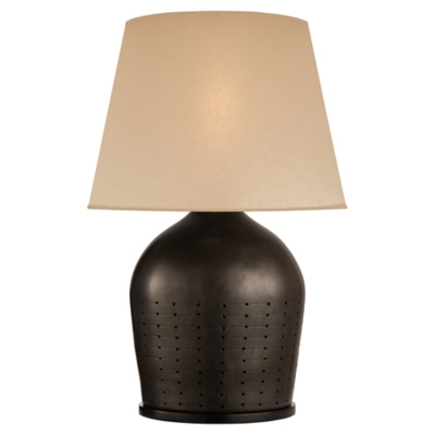 Halifax Large Table Lamp in Black Ceramic with Drum Skin Shade
