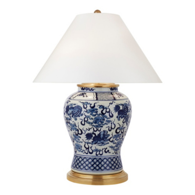 Foo Dog Medium Table Lamp - Blue & White