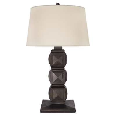 Barlow Table Lamp in Aged Iron with Linen Shade
