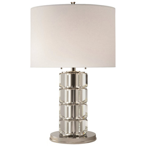 brookings large table lamp in crystal and polished nickel. Black Bedroom Furniture Sets. Home Design Ideas