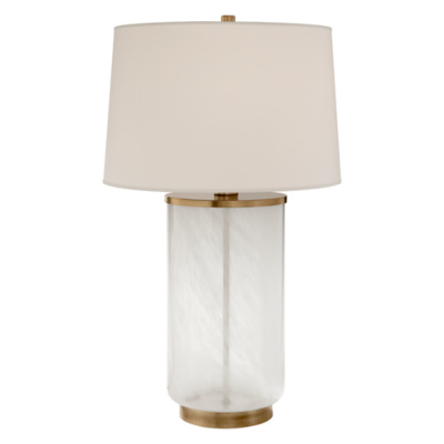Linden Table Lamp in Natural Brass and White Strie Glass