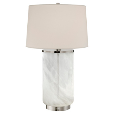 Linden Table Lamp in Polished Nickel and White Strie Glass