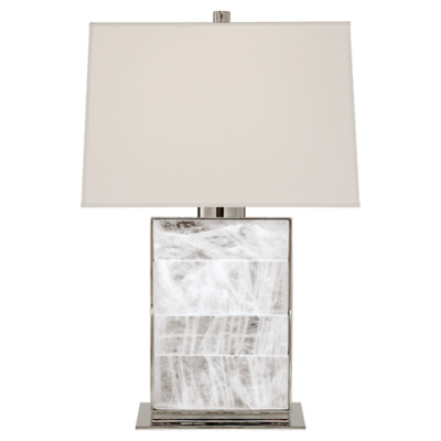 Ellis Bedside Lamp in Polished Nickel and Quartz