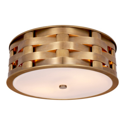 Ella Woven Medium Flush Mount in Natural Brass