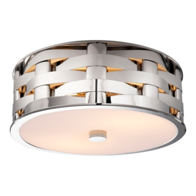 Ella Woven Medium Flush Mount in Polished Nickel