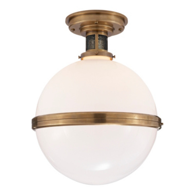 McCarren Large Flush Mount in Natural Brass