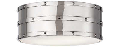 Bleeker Flush Mount in Polished Nickel with White Glass