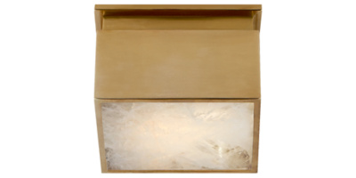 Ellis Petite Flush Mount in Natural Brass and Natural Quartz