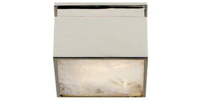 Ellis Petite Flush Mount in Polished Nickel and Natural Quartz