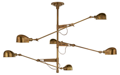 RL '67 Extra Large Triple Arm Chandelier in Natural Brass