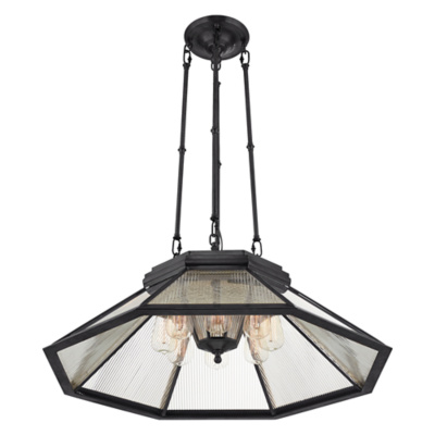 Rivington Medium Pendant in Bronze with Clear Ribbed Glass