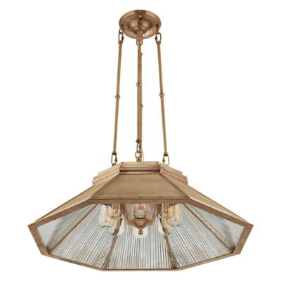 Rivington Medium Pendant in Natural Brass with Antique Ribbed Mirror
