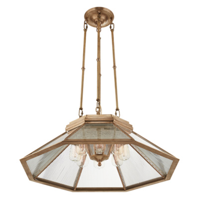 Rivington Medium Pendant in Natural Brass with Clear Glass