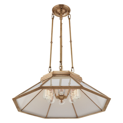 Rivington Medium Pendant in Natural Brass with White Glass