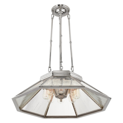 Rivington Medium Pendant in Polished Nickel with Clear Ribbed Mirror