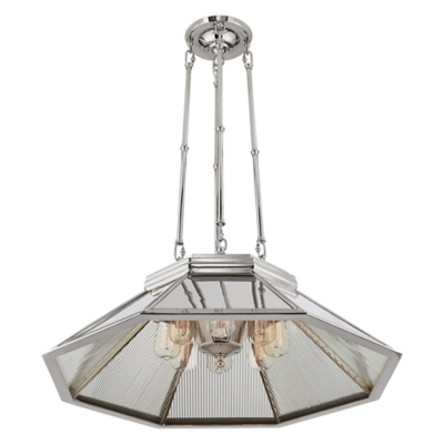 Rivington Medium Pendant in Polished Nickel with Ribbed Mirro