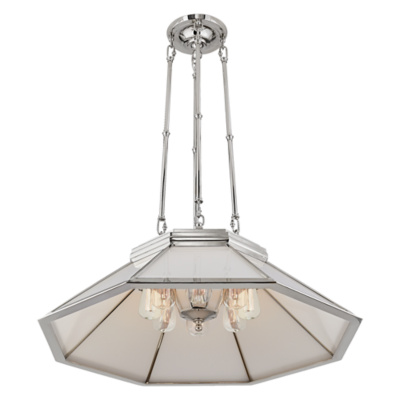 Rivington Medium Pendant in Polished Nickel with White Glass