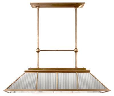 Rivington Large Billiard in Natural Brass with Clear Ribbed Glass