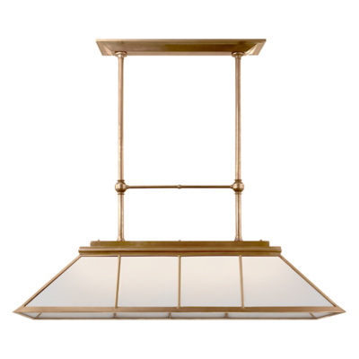 Rivington Large Billiard in Natural Brass with White Glass